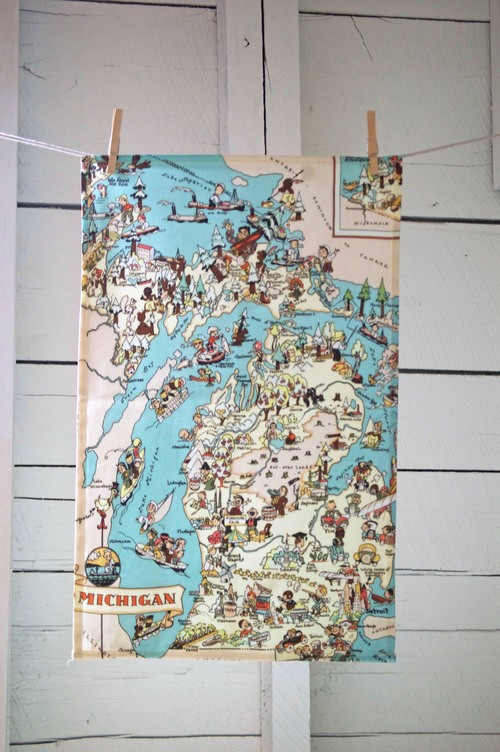 Pictorial State of Michigan tea towel