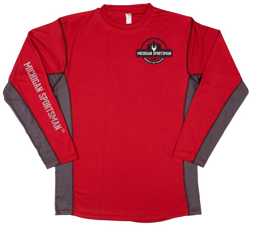 Two Tone Performance Red Long Sleeve Shirt Michigan