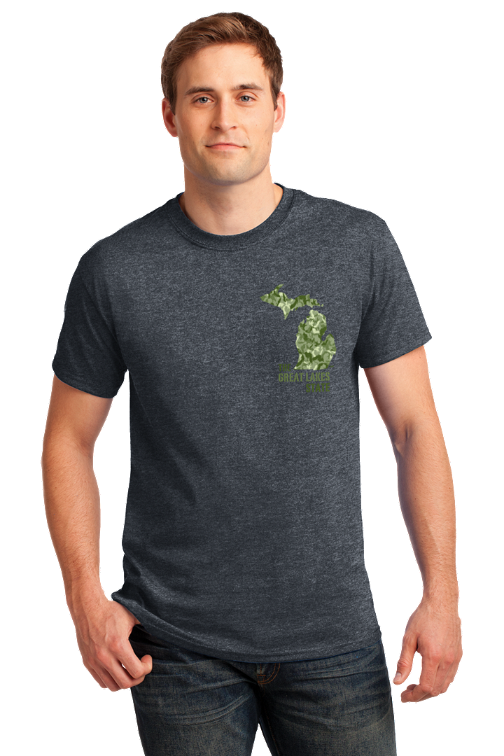 Gray Tee with green Michigan camo design