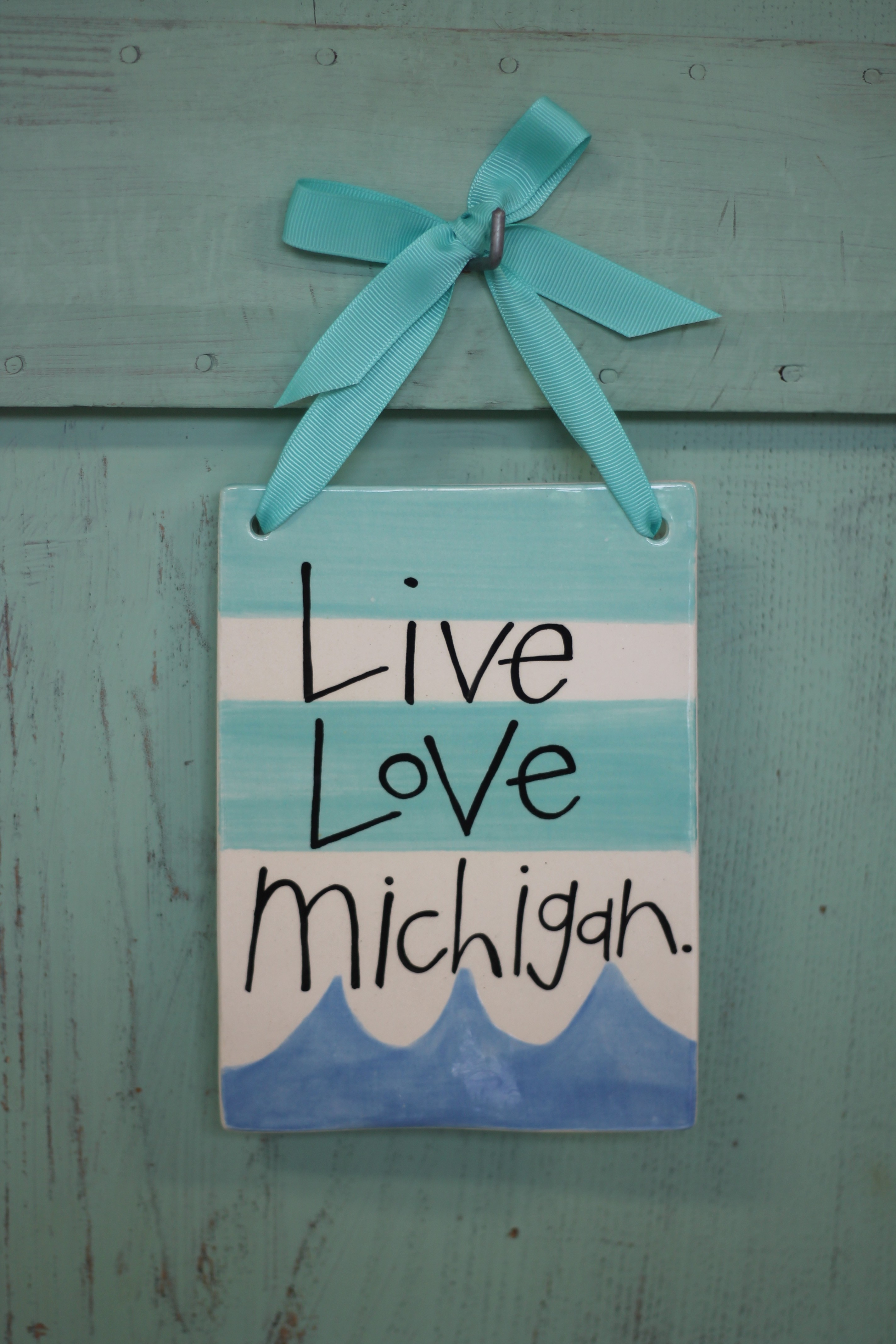 Love Michigan Hanging Tile: Live Love Michigan - Turquoise