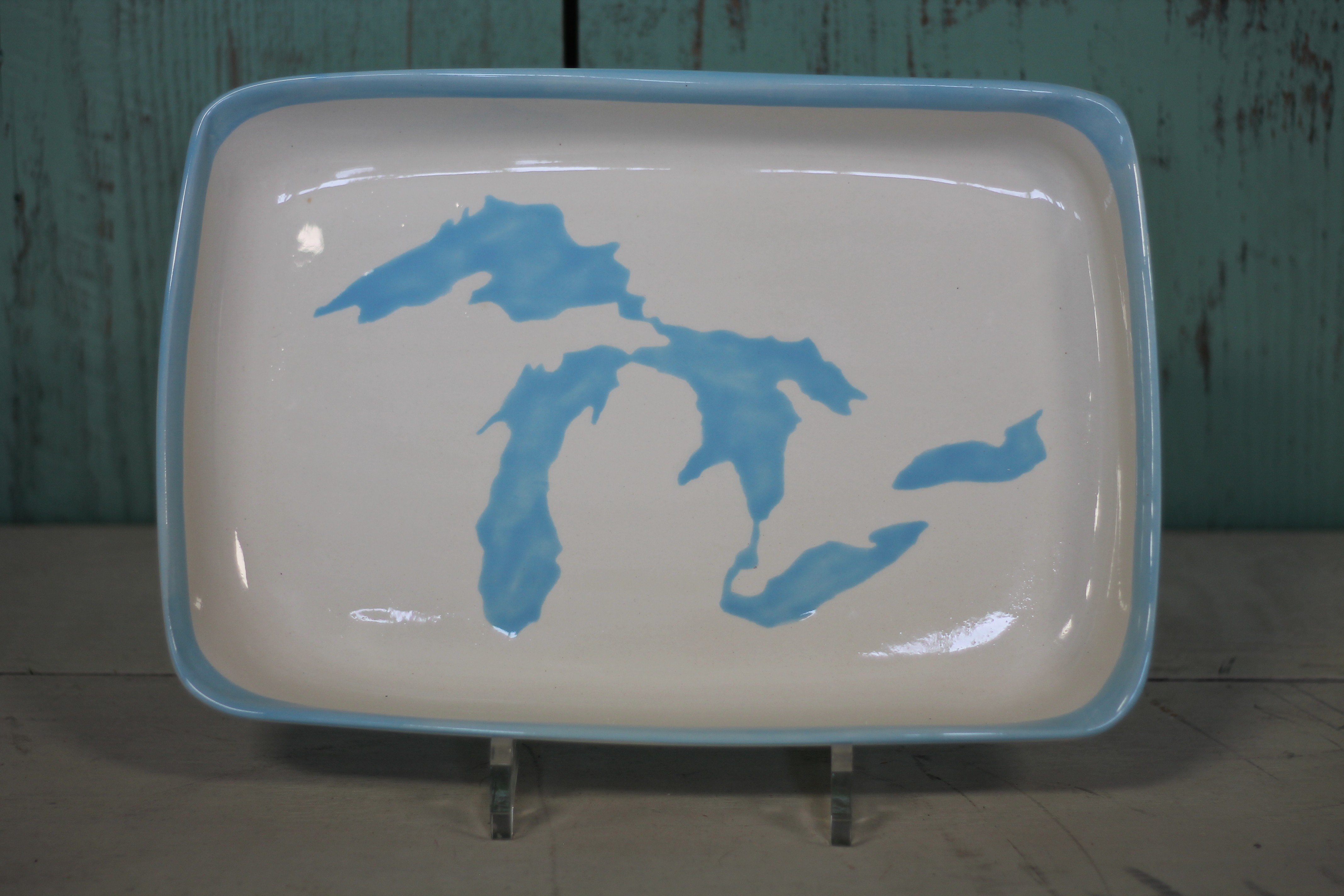 Great Lakes Rectangle Platter - Light Blue