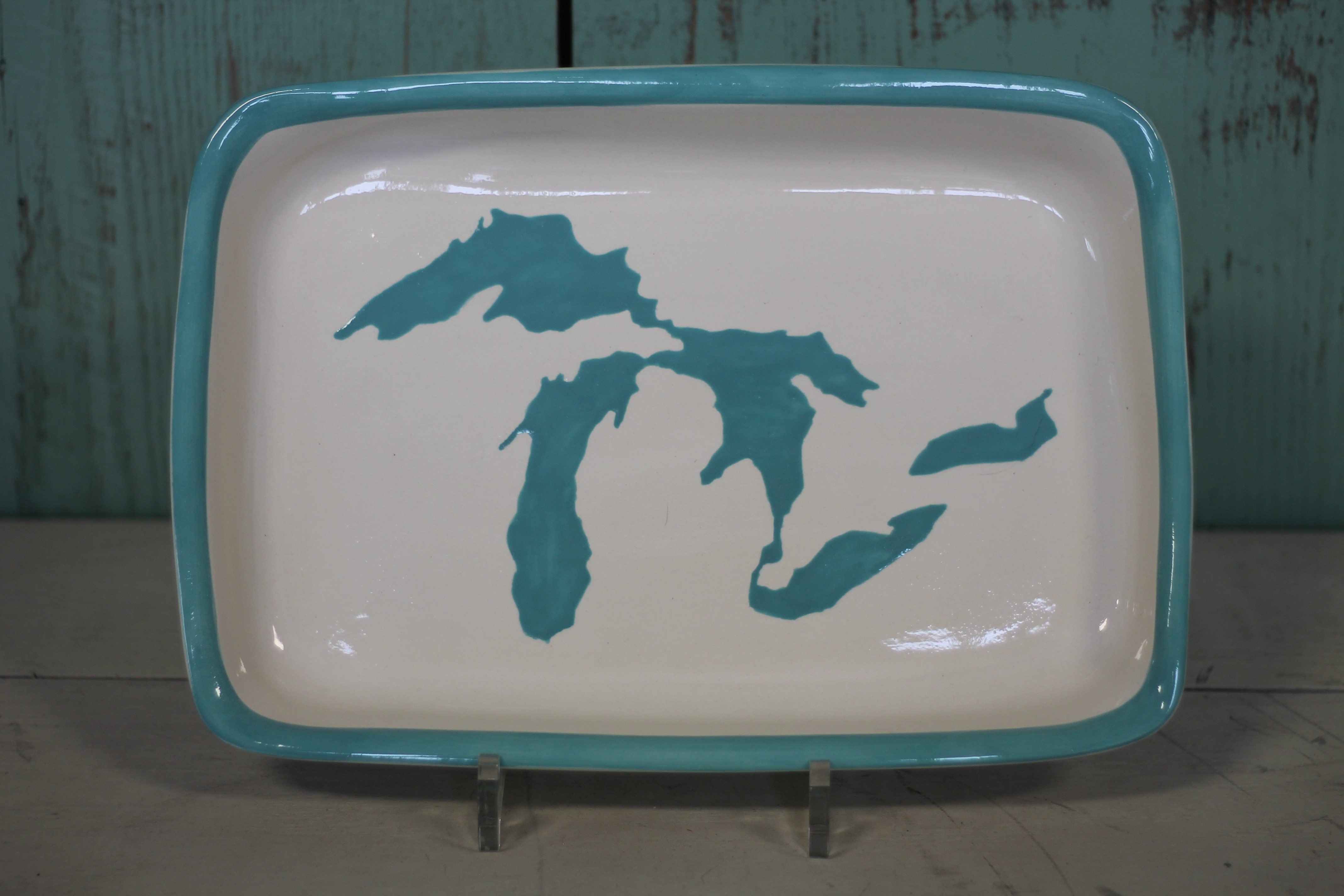 Great Lakes Rectangle Platter - Turquoise