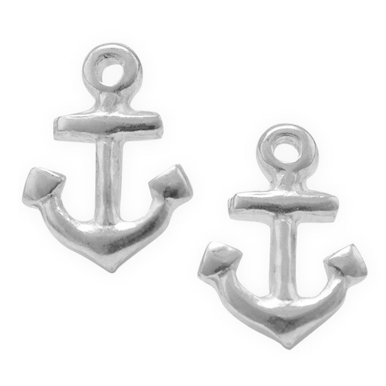 Sterling Silver Anchor Stud Earrings