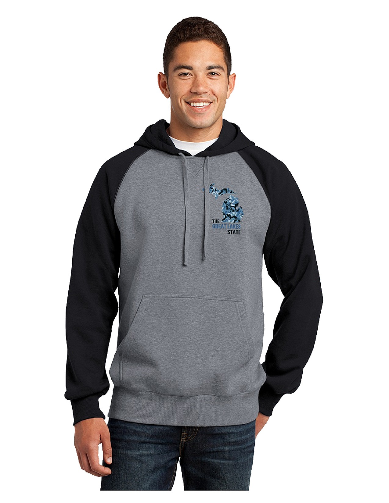Blue/Heather hoodie with blue Michigan camo design