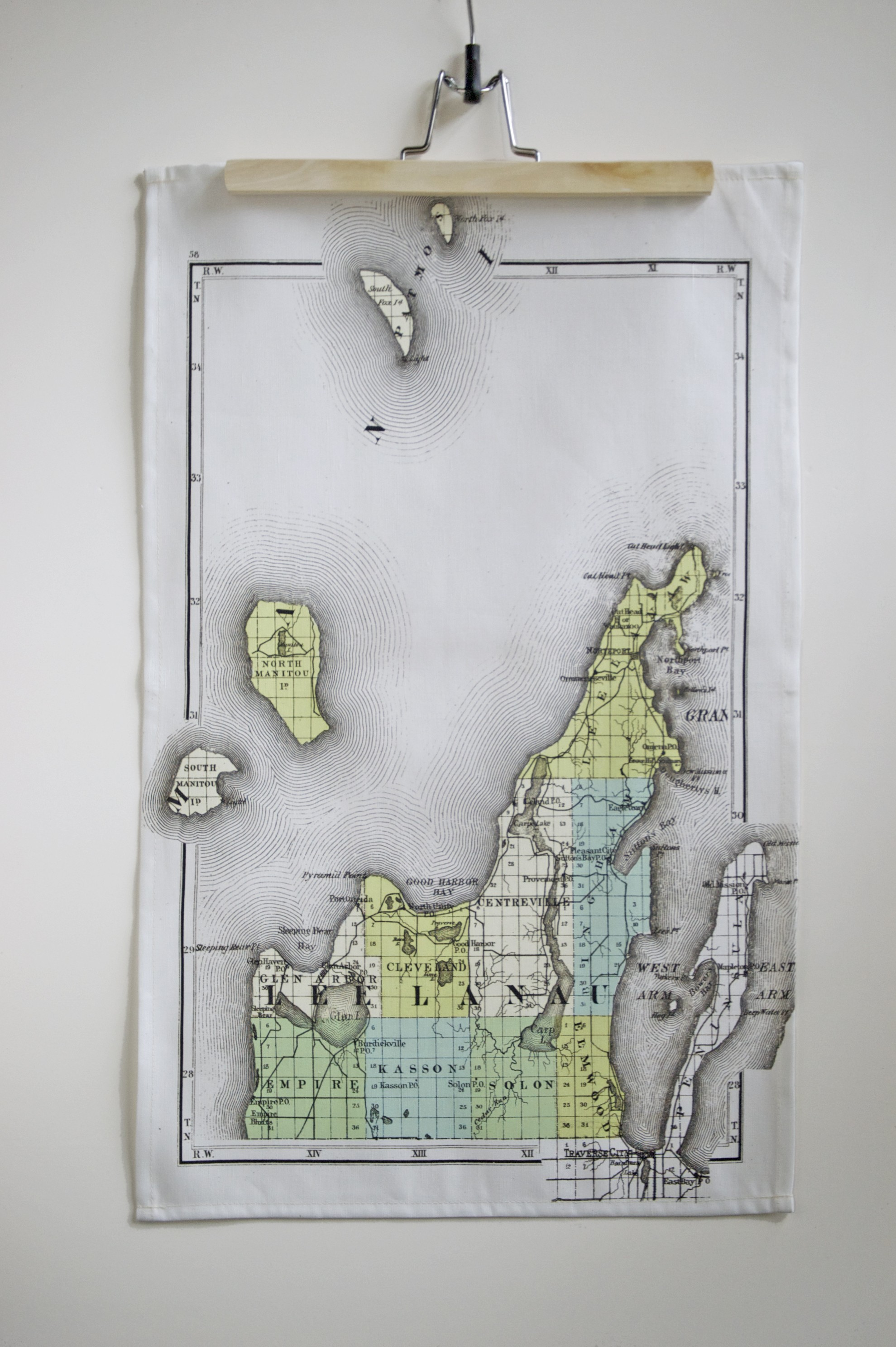 Leelanau County Map Tea Towel