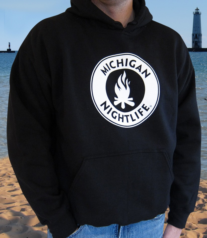 Michigan Nightlife Adult Pocket Hoodie (Black)