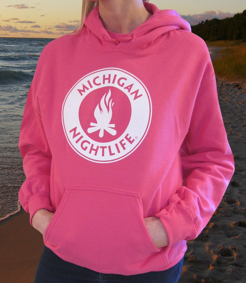 Michigan Nightlife Adult Pocket Hoodie (Heliconia Pink)