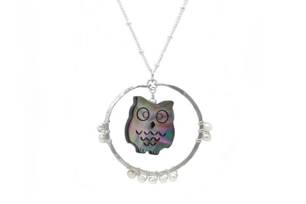 Carved Mother of Pearl Owl Totem Necklace