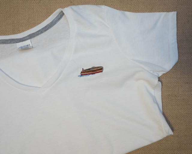 Woman's embroidered T-shirt white v-neck