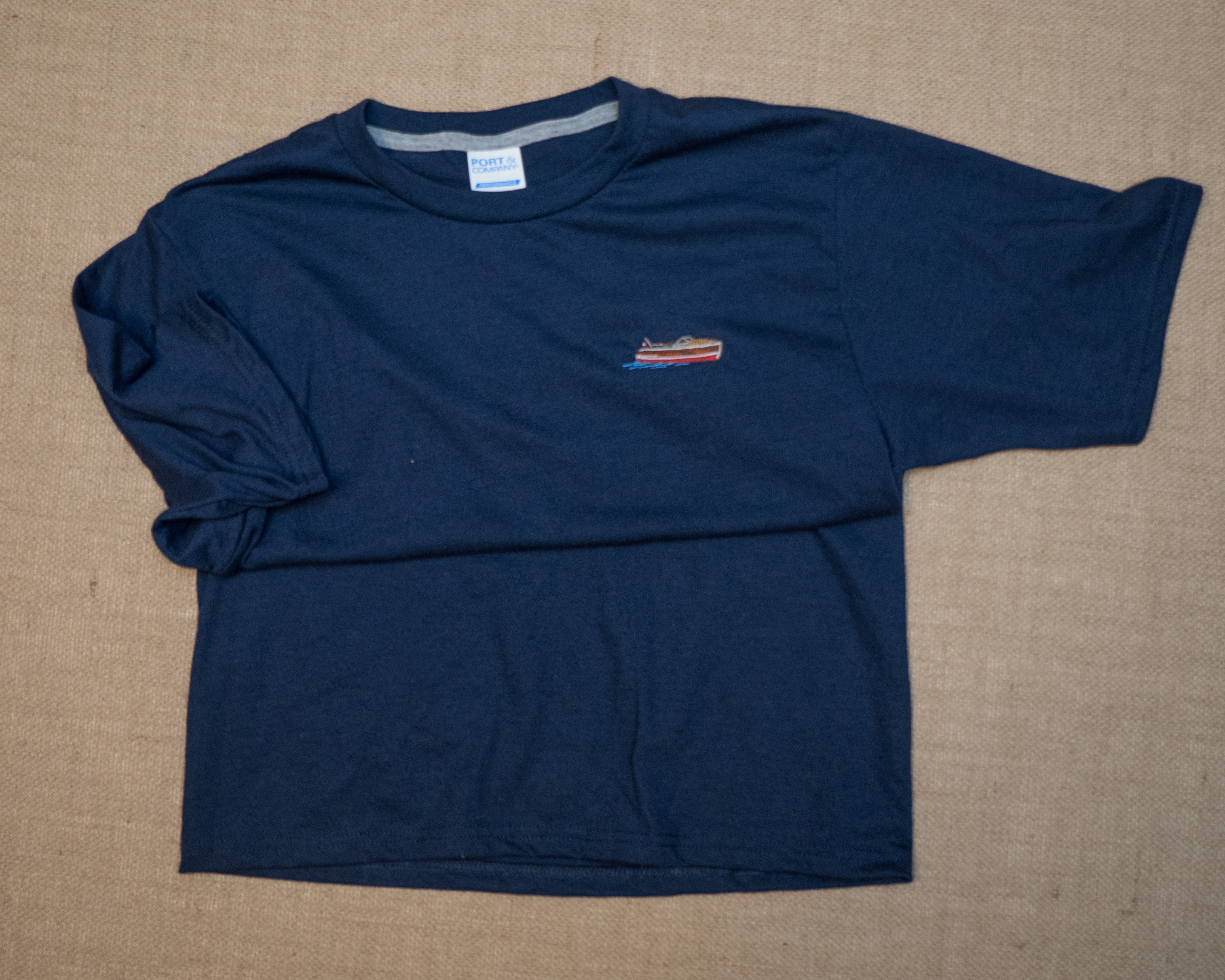 Men's embroidered T-shirt navy