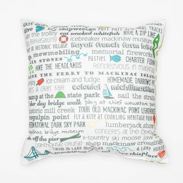 "Pillow - 18"" Mackinaw City Bucket List"