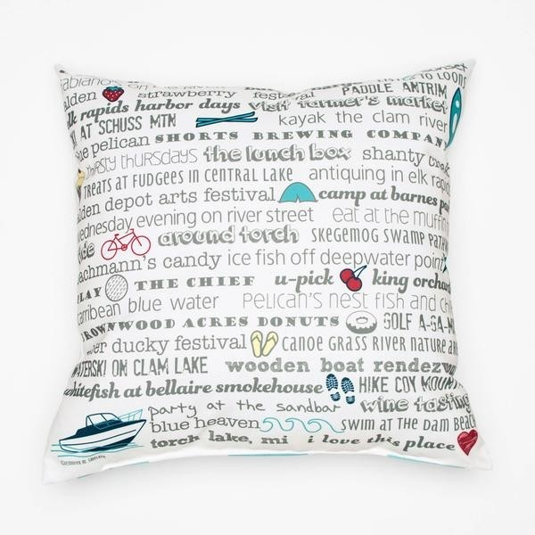 "Pillow - 18"" Torch Lake Bucket List"