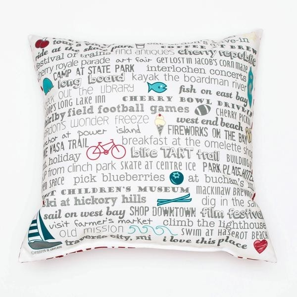"Pillow - 18"" Traverse City Bucket List"