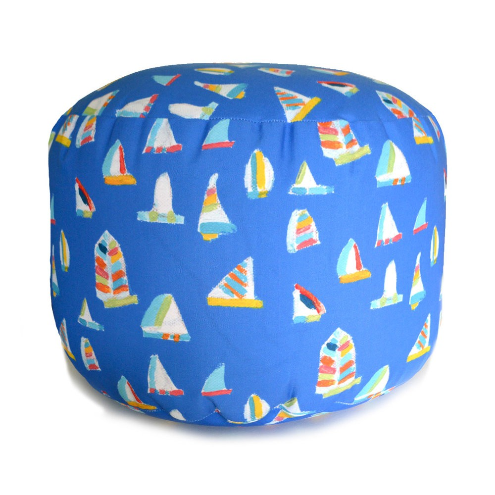 French Blue Summer Sail Overboard Ottoman