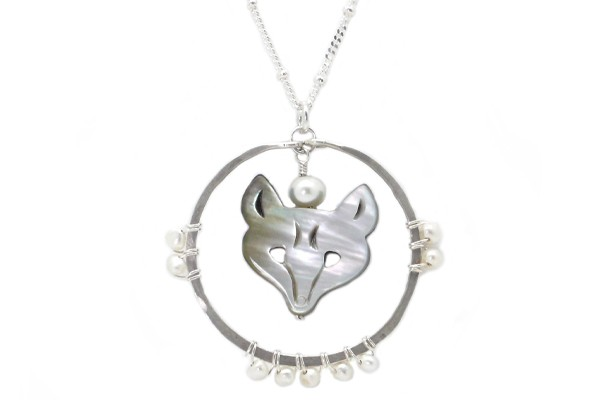 Carved Mother of Pearl Wolf Totem Necklace
