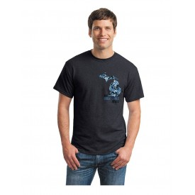 Gray Tee with blue Michigan camo design