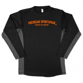 Two Tone Performance Black Long Sleeve Shirt-MI