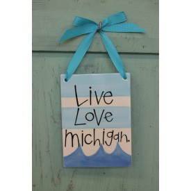 Love Michigan Hanging Tile: Live Love Michigan - Light Blue