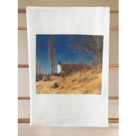 """Point Betsie Lighthouse"" MI Heart Kitchen Towel"