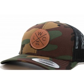Leather Patch Camo Trucker Hat