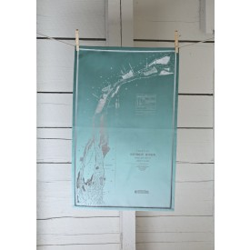 Light Teal Ombre Detroit River Tea Towel