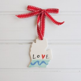 "Love Michigan: Small Ornament ""LOVE"""