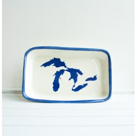 Great Lakes Rectangle Platter - Dark Blue