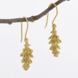 14KY Gold White Pine Cone Earrings