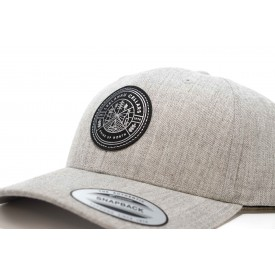 Leather Patch Grey Curved Visor Cap