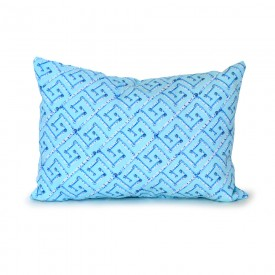 Aqua Birch Fancy Key Outdoor Lumbar Pillow