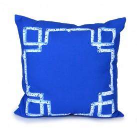 Sapphire Birch Greek Key Outdoor Pillow