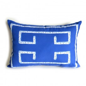 Sapphire Birch Greek Key Outdoor Lumbar Pillow