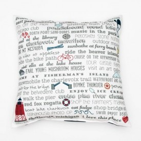 "Pillow - 18"" Charlevoix Bucket List"
