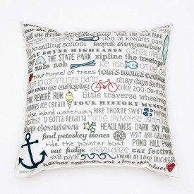 "Pillow - 18"" Harbor Springs Bucket List"