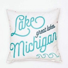"Pillow - 18"" Lake Michigan Love"