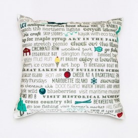 "Pillow - 18"" Les Cheneaux Bucket List"