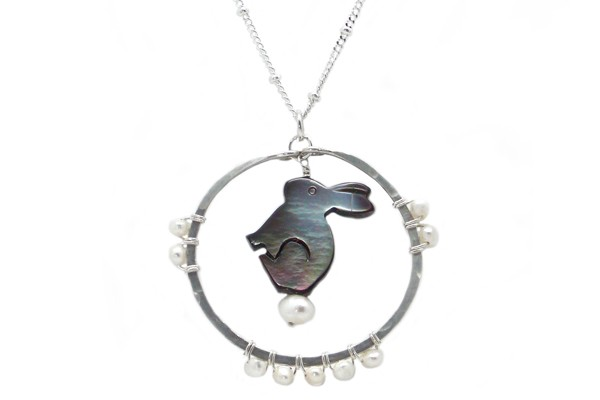 Carved Mother of Pearl Bunny Totem Necklace