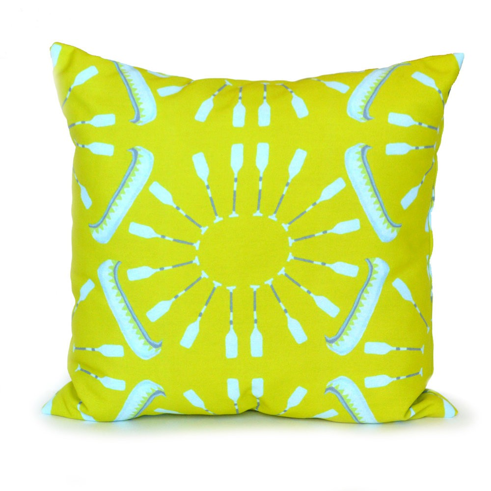 Citron Canoes and Oars Outdoor Pillow