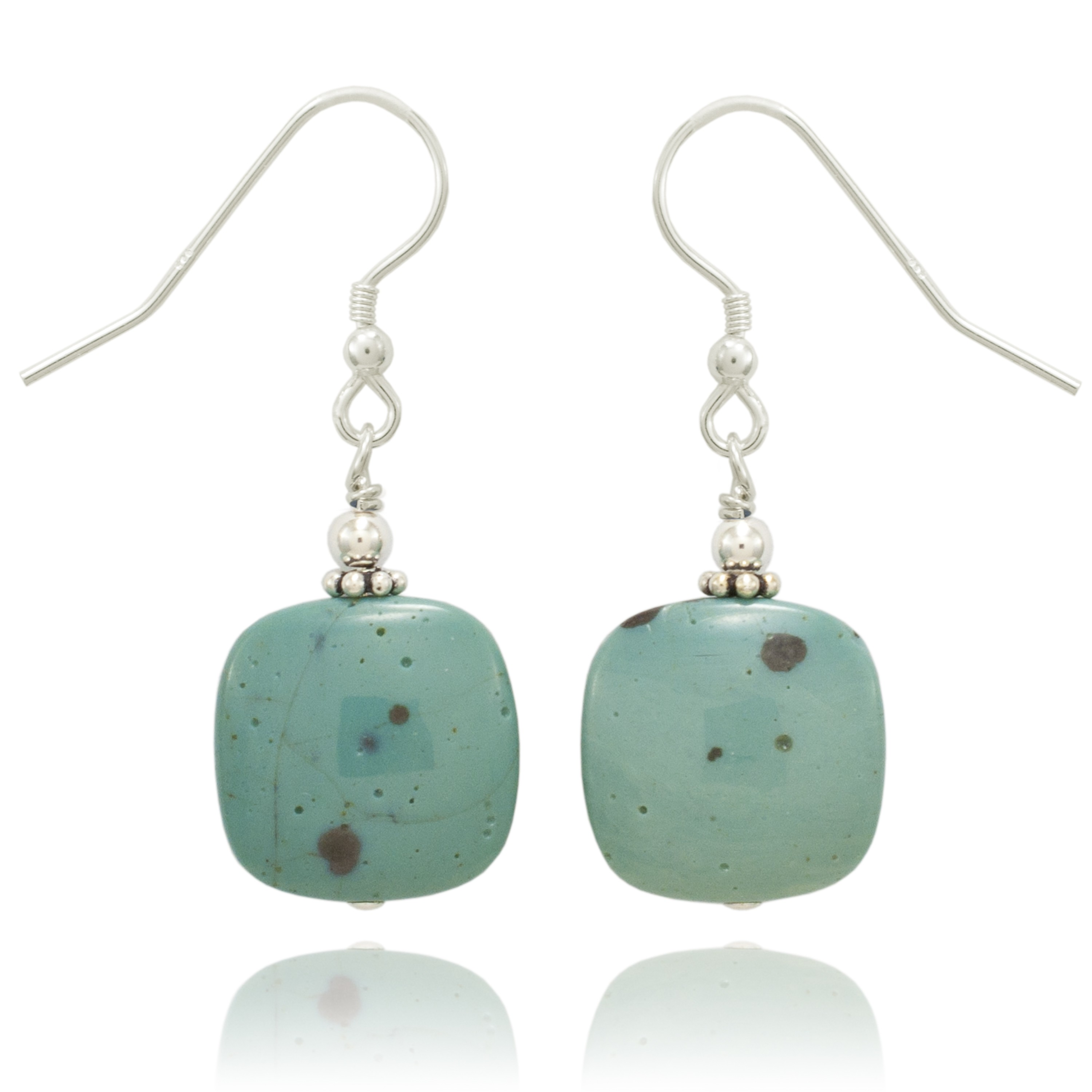 Leland Blue Stone Teal Blue Square Style Earrings