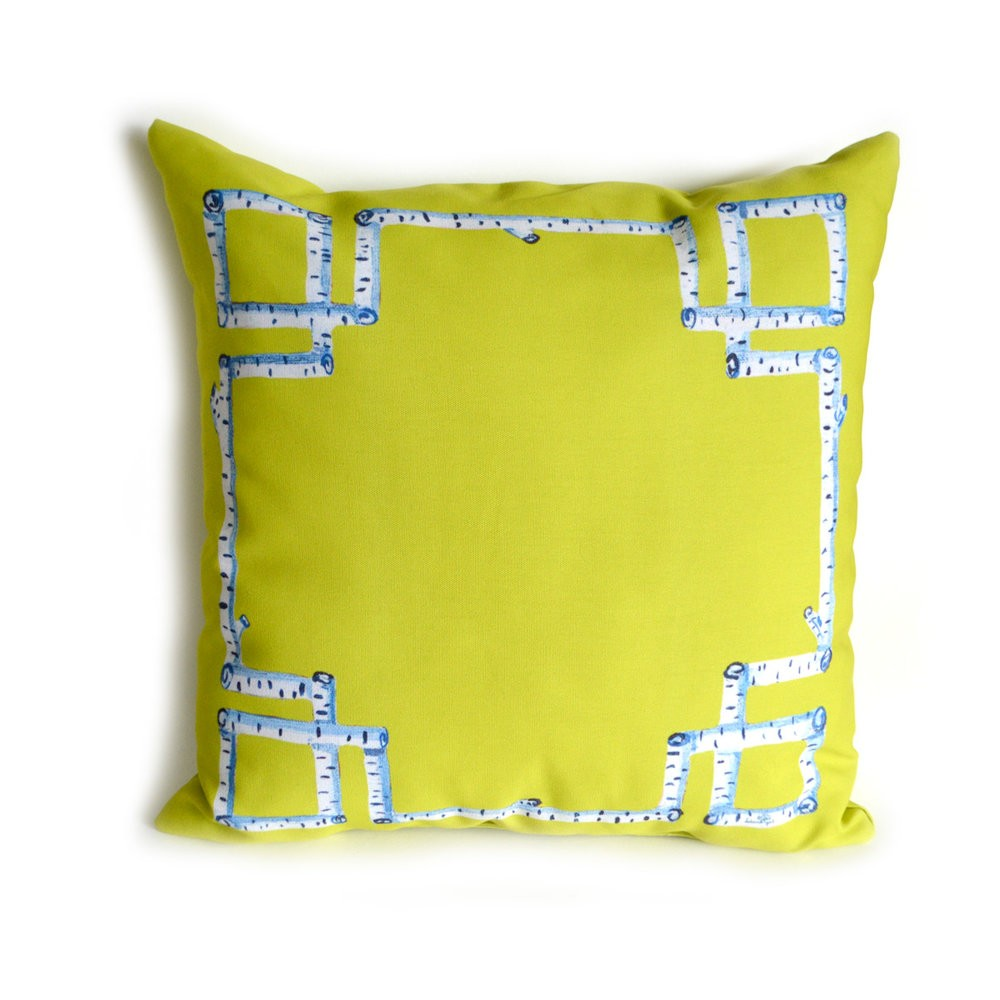 Citron Birch Greek Key Outdoor Pillow
