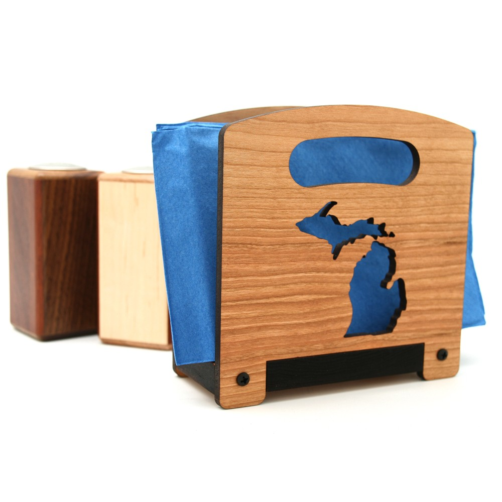 Wooden Napkin Holder, Tableware, Featuring the state of Michigan