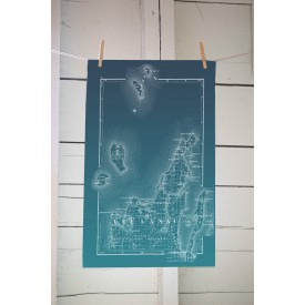 Dark Teal Ombre Leelanau County Map Tea Towel