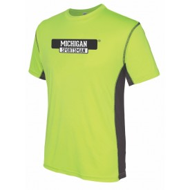 Two Tone Lime Green Short Sleever Performance T-Shirt MI