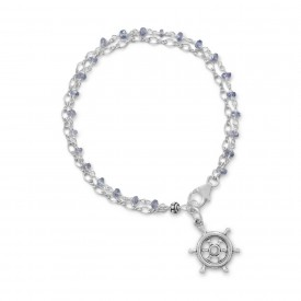 The Mackinaw  - Double Strand Bracelet with Tanzanite and Ships Helm Charm