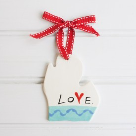 "Love Michigan: Large Ornament  ""LOVE"""
