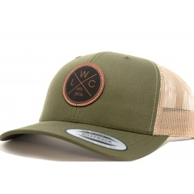 Leather Patch Green Trucker Hat