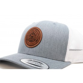 Leather Patch Grey Trucker Hat