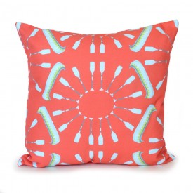 Coral Canoes and Oars Outdoor Pillow