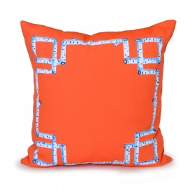 Orange Birch Greek Key Outdoor Pillow