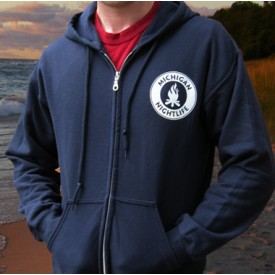 Michigan Nightlife Adult Navy Full-Zip Hoodie